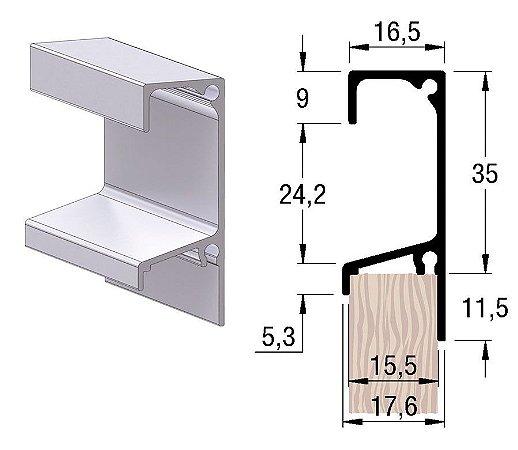 Alternativa - Perfil Puxador 5046T 15mm Inox Escovado  6,0 m