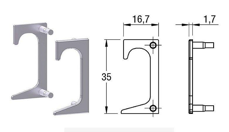 Alternativa - Ponteira 10 Lat 15mm 4016T Vazada Inox Escovado Par Direita e Esquerda