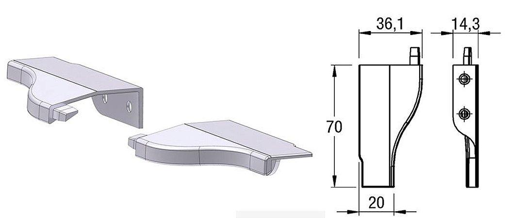 Alternativa - Ponteira 13 Lat 15mm LINZ Inox Escovado Par Direita e Esquerda
