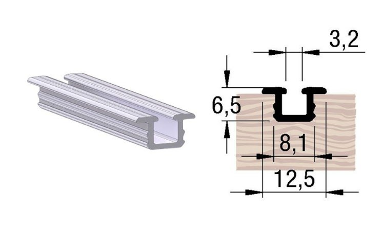 Alternativa - Trilho Inferior 2053 Anodizado s/ Jato 6,0 m