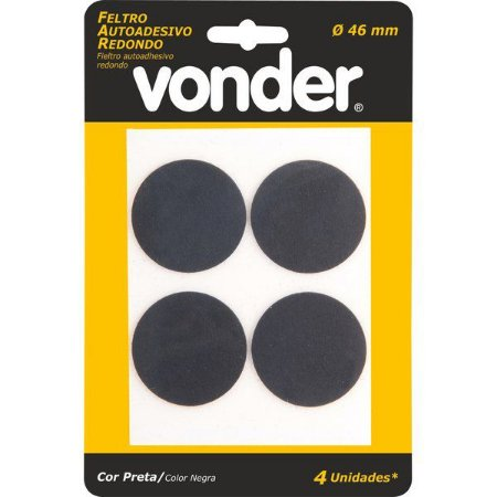 VONDER - Feltro Adesivo Redondo Preto- 46mm - c/ 4 unidades