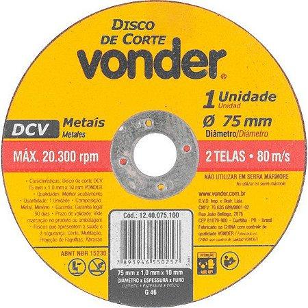VONDER - Disco de Corte - 75 x 1,0 x 10mm