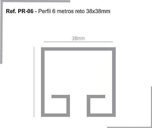 PERFIL - Perfil de Alumínio 6m - PR - Trilho Reto - 38 x 38mm