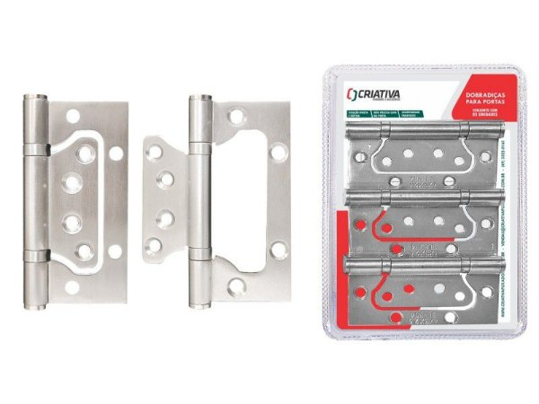 Criativa - Dobradiça p/ Porta BH02MP - INOX 201 Polido - c/ 3 Unidades