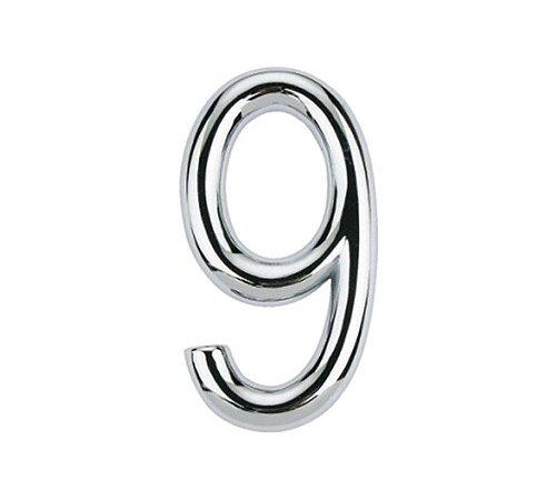 Bemfixa - Numero Autoadesivo 9 - Cromado - 75mm