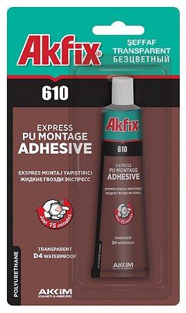 Akfix - 610 Cola PUR Monocomponente D4, norma DIN EN 204, para Montagem - (50ml) - Transparente