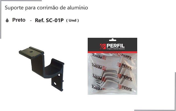 PERFIL - Suporte de Alumínio p/ Corrimão 30 x 5mm - Preto - SC-01P