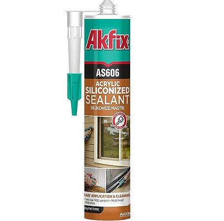 Akfix - AS606 Selador Silicone Base Aguá, pode-se Pintar - (310ml-550g) Marfim Claro (AS606/MC-310) Bege