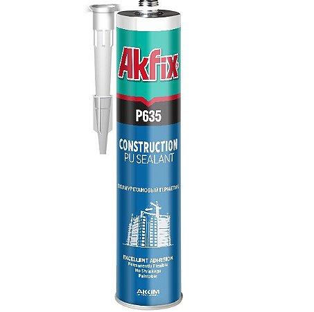 Akfix - P635 Cola PU Construção ( 310 ml ) - Preto (P635/PR/310) Selante de Poliuretano (Veda calha e outras aplicações)