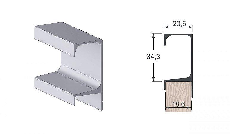 Alternativa - Perfil Puxador 5047 Inox Escovado - PLIBL - 6,0 m
