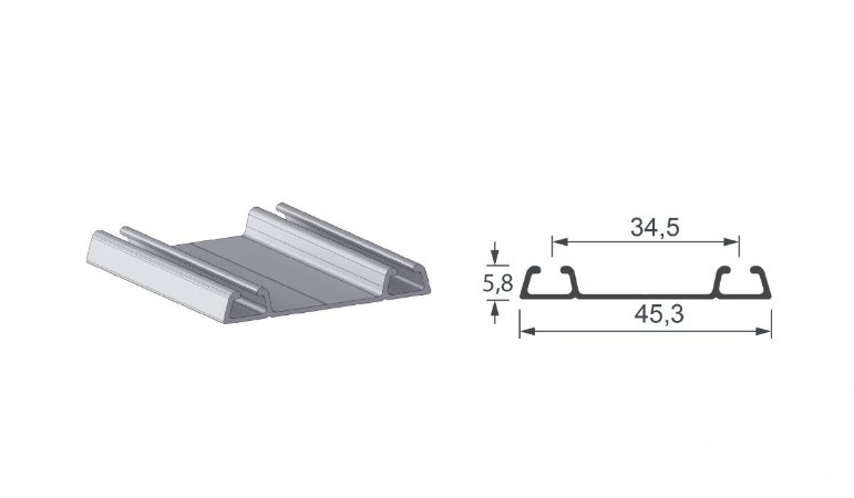 Alternativa - Trilho Inferior Form 1052 Anodizado S Jato - PLIBL - 6,0 m
