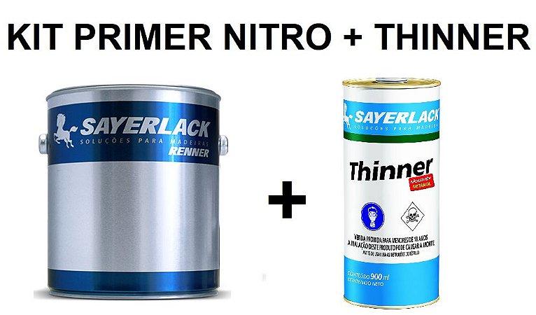 Sayerlack - KIT Primer Nitro Branco 9327 (3,6L) + 2 Thinner 900ML