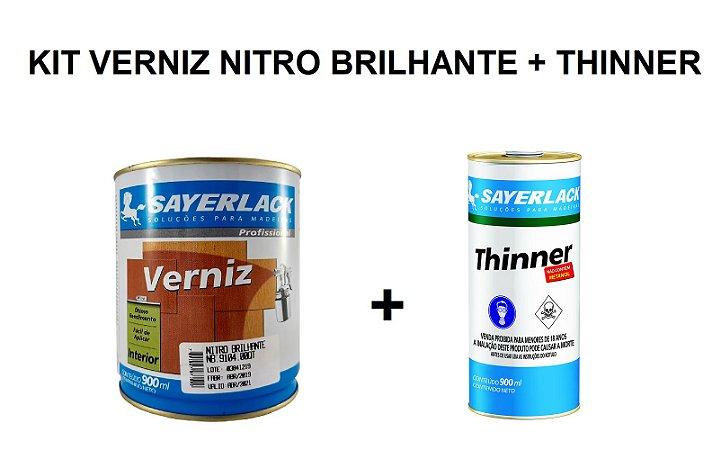 Sayerlack - Kit Verniz Nitro Brilhante NB 9104 900ML + Thinner