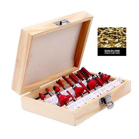 GOLDLINE - Kit com 15 Fresas para Madeira - Metal Duro