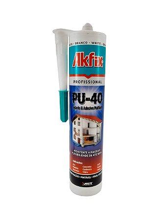 Akfix - PU-40 Selante e Adesivo Multiuso Profissional - Branco - 400g