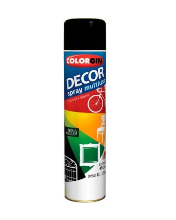 Colorgin - Tinta Spray Decor 360ml - Preto Fosco - 8711