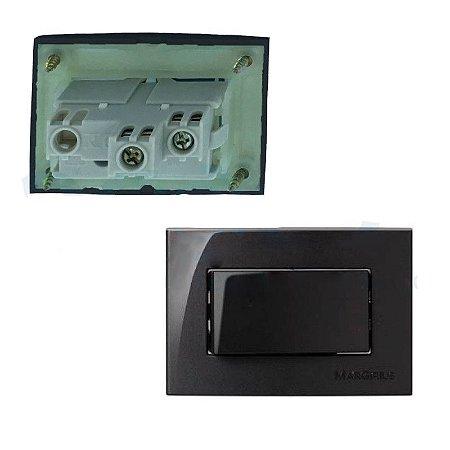 MarGirius - Conjunto Interruptor Simples Sleek - 10A 250V - Preto (PA016569)