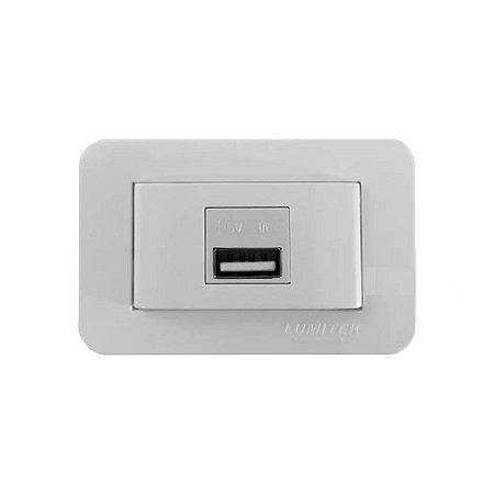 Lumitek - Tomada USB de Embutir p/ Móveis - 5V 1A - Bivolt - Branco