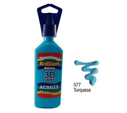 Acrilex - Dimensional Brilhante Relevo 3D - Turquesa (577)