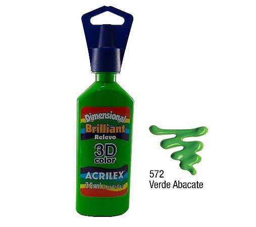 Acrilex - Dimensional Brilhante Relevo 3D - Verde Abacate (572)