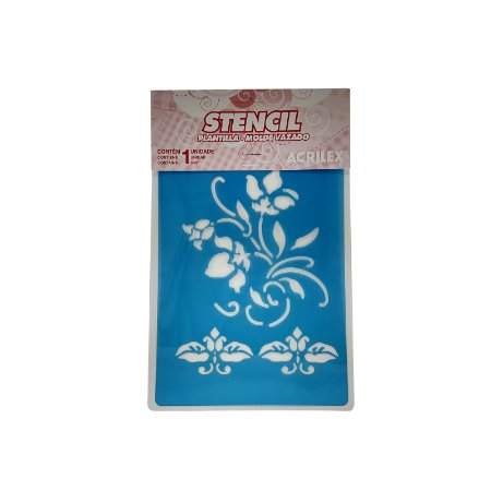 Acrilex - Molde p/ Pintura - Stencil 210 x 150mm - Tribal Flores (148)