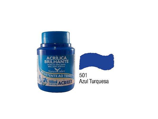 Acrilex - Tinta Acrilica Brilhante 100ml - Azul Turquesa (501)