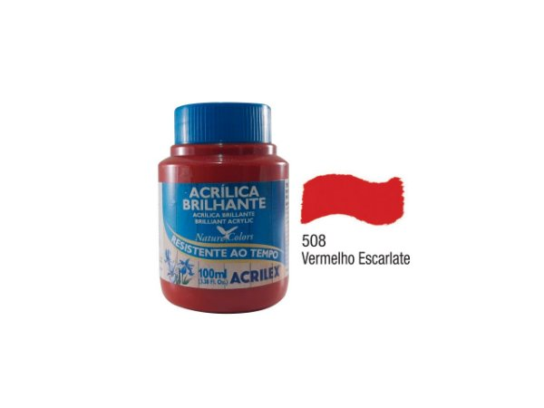 Acrilex - Tinta Acrílica Brilhante 100ml - Vermelho Escarlate (508)