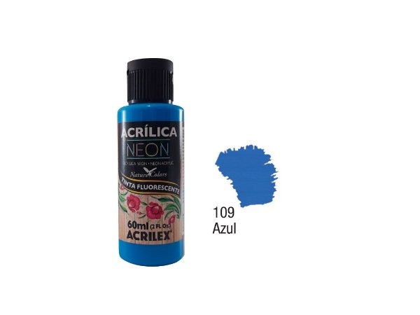 Acrilex - Tinta Acrílica Fosca Neon 60ml - Azul (109)