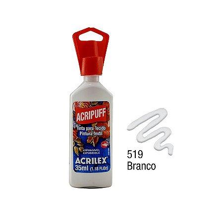 Acrilex - Tinta Expansível p/ Tecido 35ml - Acripuff - Branco (519)