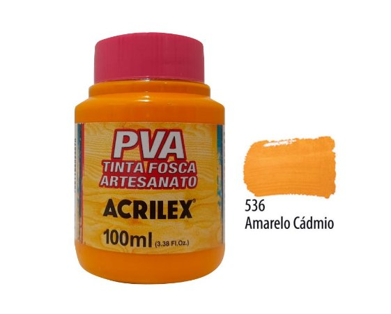 Acrilex - Tinta Fosca PVA p/ Artesanato 100ml - Amarelo Cadmio (536)
