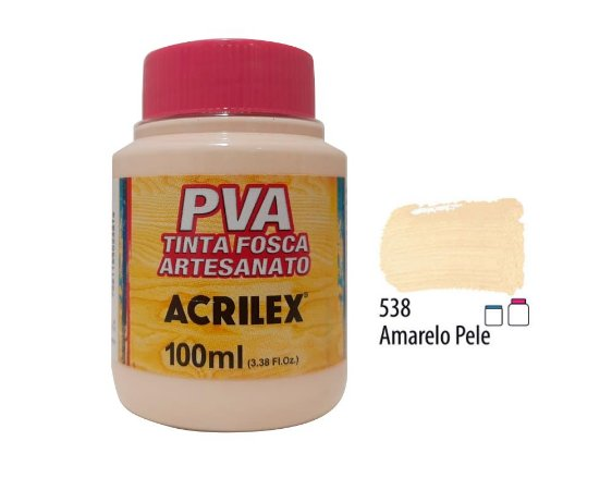 Acrilex - Tinta Fosca PVA p/ Artesanato 100ml - Amarelo Pele (538)