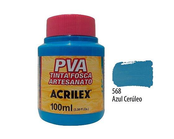 Acrilex - Tinta Fosca PVA p/ Artesanato 100ml - Azul Ceruleo (568)