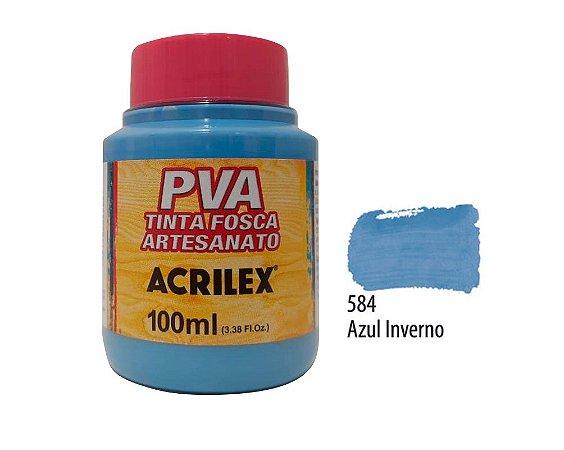 Acrilex - Tinta Fosca PVA p/ Artesanato 100ml - Azul Inverno (584)