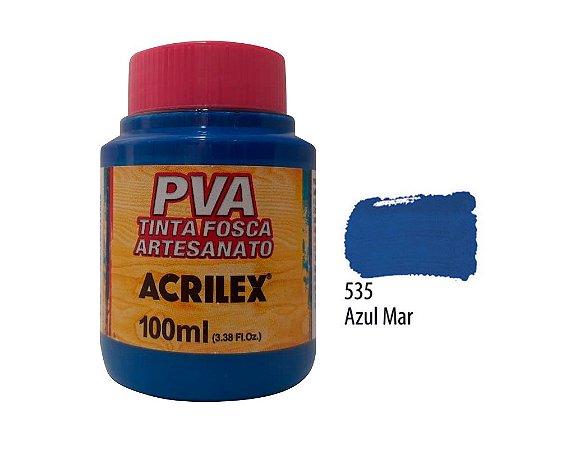 Acrilex - Tinta Fosca PVA p/ Artesanato 100ml - Azul Mar (535)