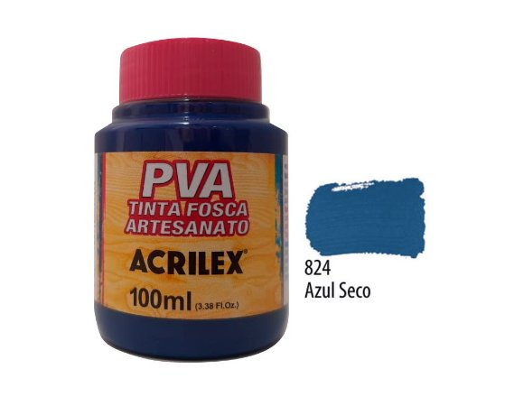 Acrilex - Tinta Fosca PVA p/ Artesanato 100ml - Azul Seco (824)