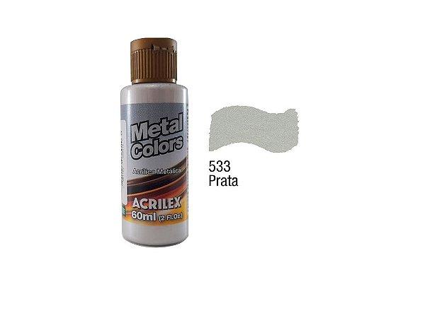 Acrilex - Tinta Metal Colors 60ml - Prata (533)
