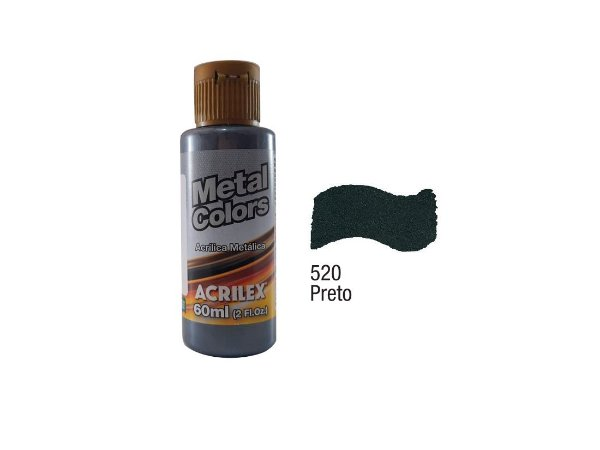 Acrilex - Tinta Metal Colors 60ml - Preto (520)