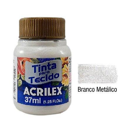 Acrilex - Tinta p/ Tecido - Metalica 37ml - Branco Metálico (562)