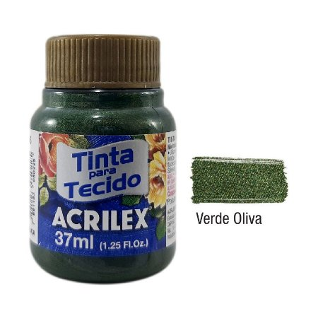 Acrilex - Tinta p/ Tecido - Metalica 37ml - Verde Oliva (545)