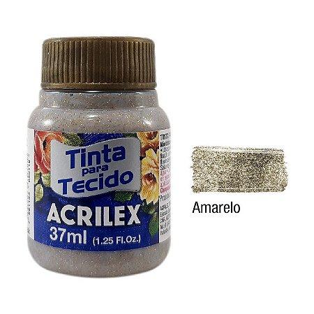 Acrilex - Tinta p/ Tecido Glitter 37ml - Amarelo (212)