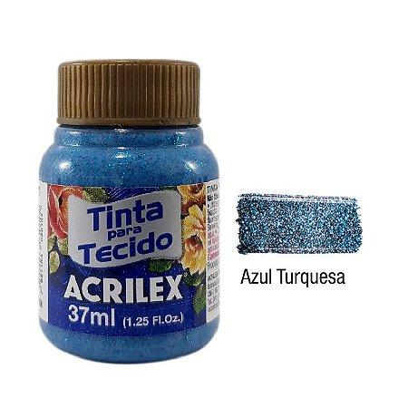 Acrilex - Tinta p/ Tecido Glitter 37ml - Azul Turquesa (211)