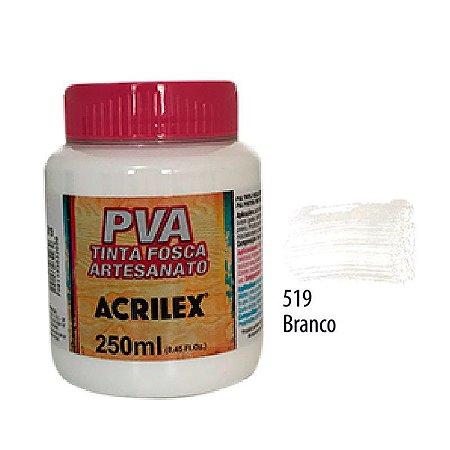 Acrilex -Tinta Fosca PVA p/ Artesanato 250ml - Branco (519)