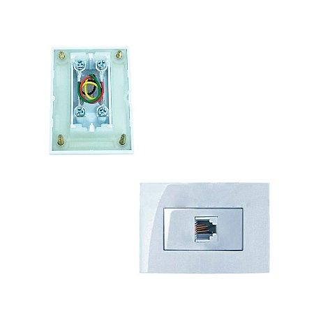MarGirius - Conjunto Tomada Telefone RJ11 Sleek - Branco (PA016151)