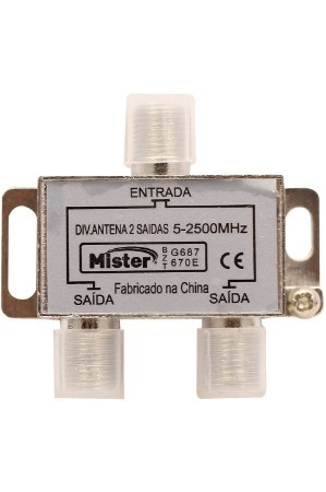 Mister - Divisor Antena 2 Saídas AF 2500MHz c/ Conector – 100215