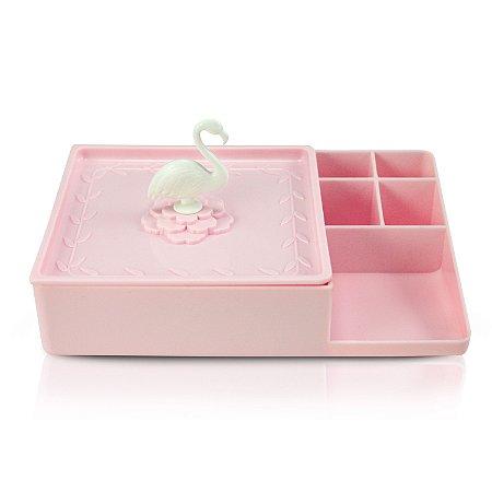Organizador Multiuso Com Espelho Flamingo Rosa - Jacki Design