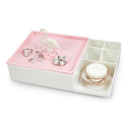 Organizador Multiuso Com Espelho Branco e Rosa - Jacki Design
