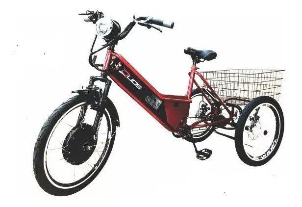 Triciclo Elétrico De Carga Pedal E Freio A Disco Duos Bike