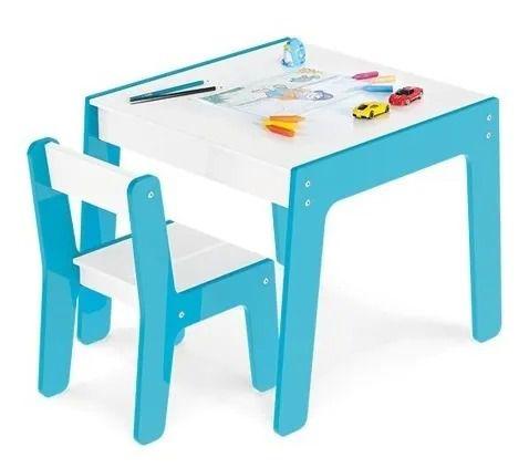 Mesinha Infantil Azul Ou Rosa De Madeira Com Cadeira Junges