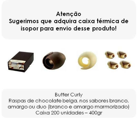 Butter Curly - Raspa de chocolate belga 200 unidades