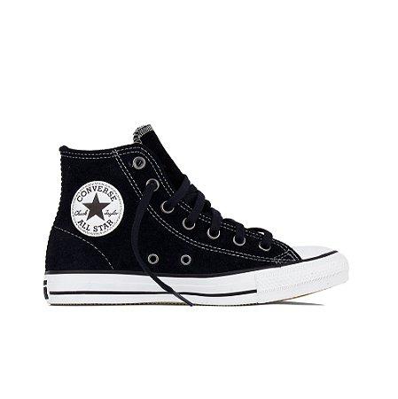 Tênis Converse All Star Chuck Taylor Cano Alto Couro Camurça Hi - Preto